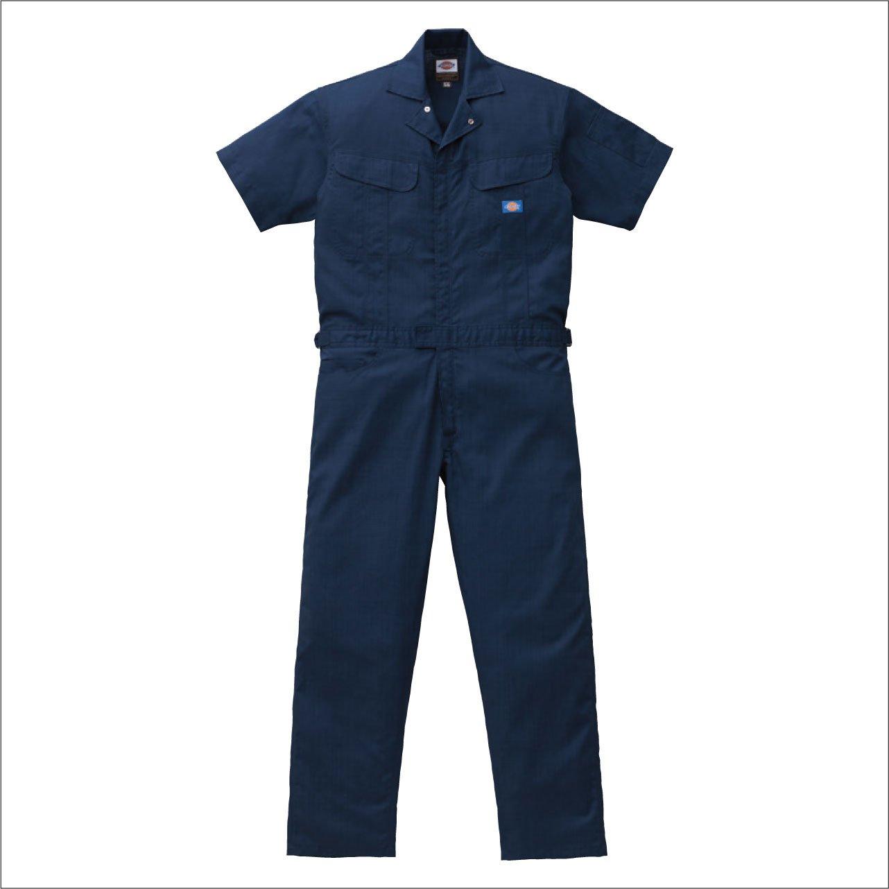 (ディッキーズ) Dickies ブッチャー織り半袖つなぎ Dickies-1111 B008FTVXQI 5L|ネイビーブルー ネイビーブルー 5L