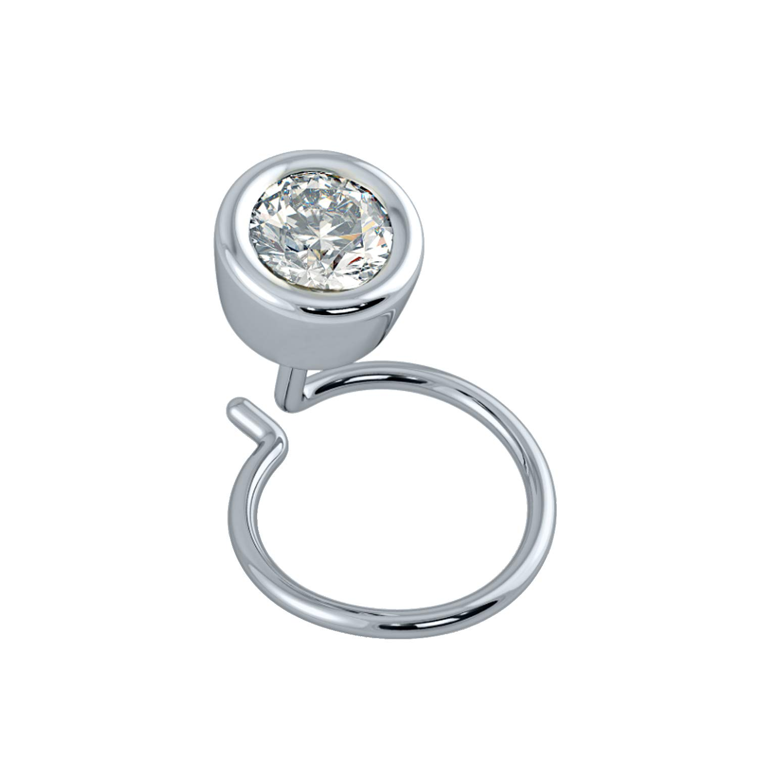 House of Kanak LLC 0.10 Ct Natural Diamond 14K White Gold Nose Body Piercing Stud Pin with Back Side Wire