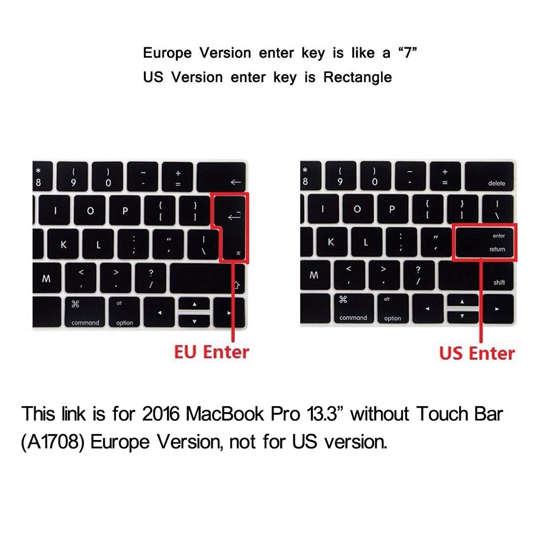 FGGKIMI Cover for 2016 MacBook Pro 13.3 Inch without Touch Bar (A1708),Hat-Prince 2 in 1 Frosted Hard Shell Plastic Protective Case + Europe Version Ultra-thin TPU Keyboard Protector Cover for 2016 Ma by FGGKIMI (Image #9)