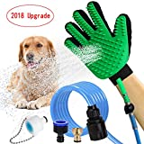 [Upgrade Version] Pet Bathing Tool Glove | Efficient Gentle Deshedding Brush Glove - Pet Shower Sprayer and Massager in-One,Dog Shower Sprayer Grooming Hair Remover Glove with 3 Faucet Adapters Hose
