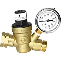 SUNTAI Brass Water Pressure Regulator 3/4 Lead-Free Adjustable RV Water Pressure Reducer with 160PSI Gauge and Inlet…
