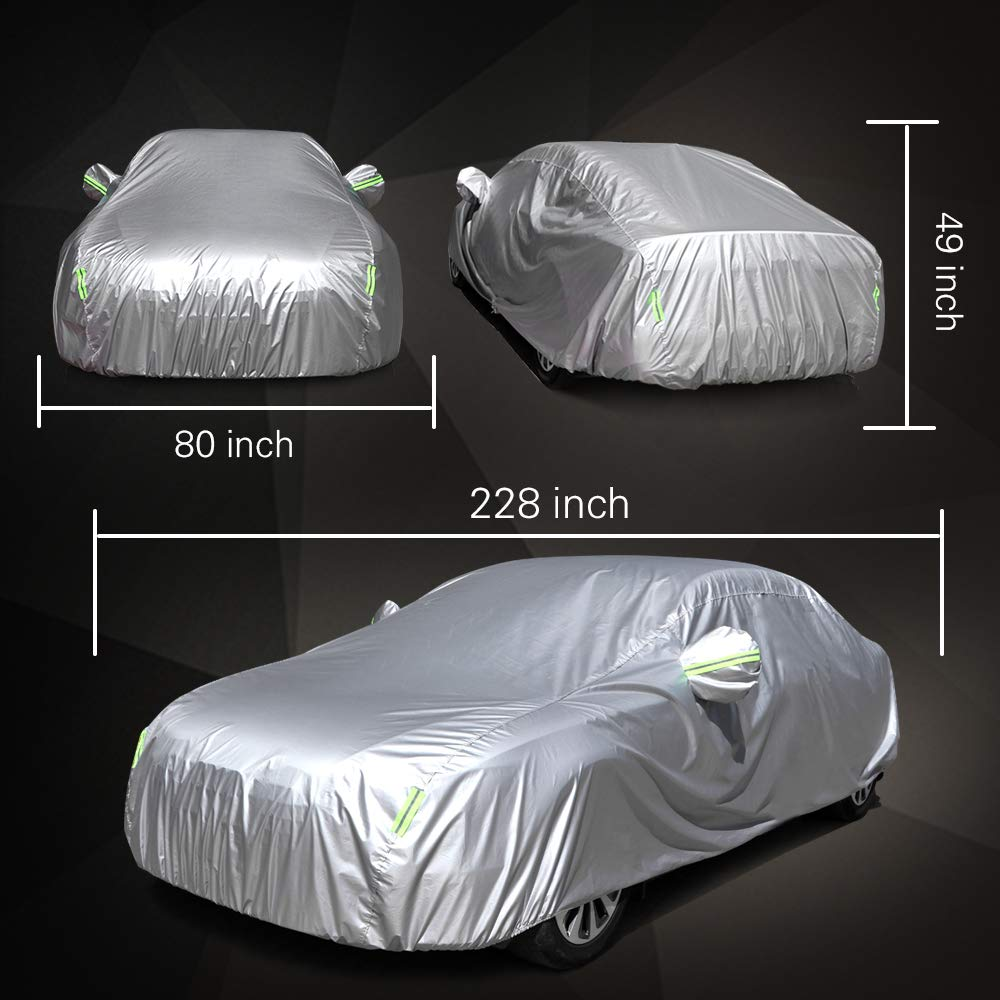 SCITOO Universal Full Car Cover Waterproof All Weather Anti Rain Snow Ice Waterproof Dustproof UV Outdoor Fit for 190