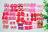 Yagopet 30pcs/pack in Pairs New Pet Hair Bows Topknot Rhinestone Flower Pearls Attached with Rubber Bands Durable Top Quality Gorgeous Dog Grooming Products (Mix girls colors)