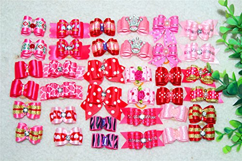 Gorgeous Bow (Yagopet 30pcs/pack in Pairs New Pet Hair Bows Topknot Rhinestone Flower Pearls Attached with Rubber Bands Durable Top Quality Gorgeous Dog Grooming Products (Mix girls colors))