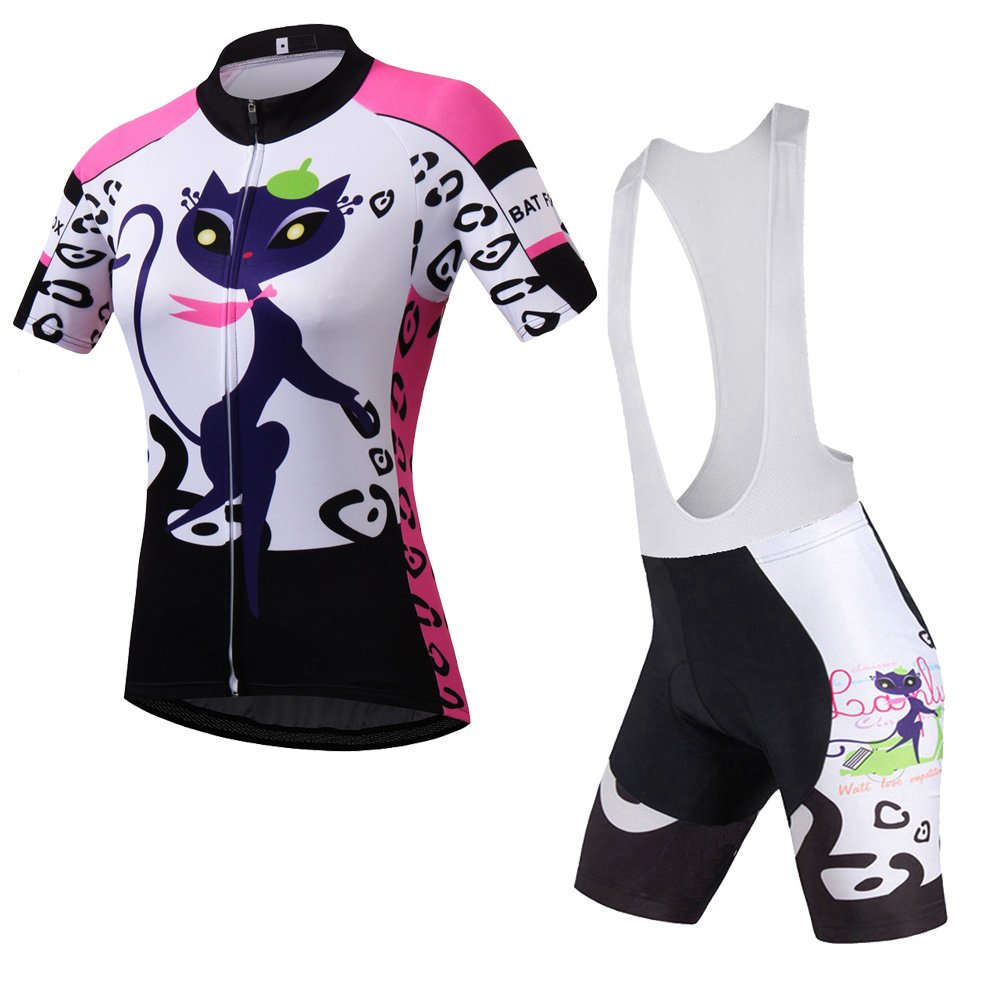 Uriah Women's Cycling Jersey White Bib Shorts Sets Short Sleeve Cat Pink Size XXXL(CN) by Uriah