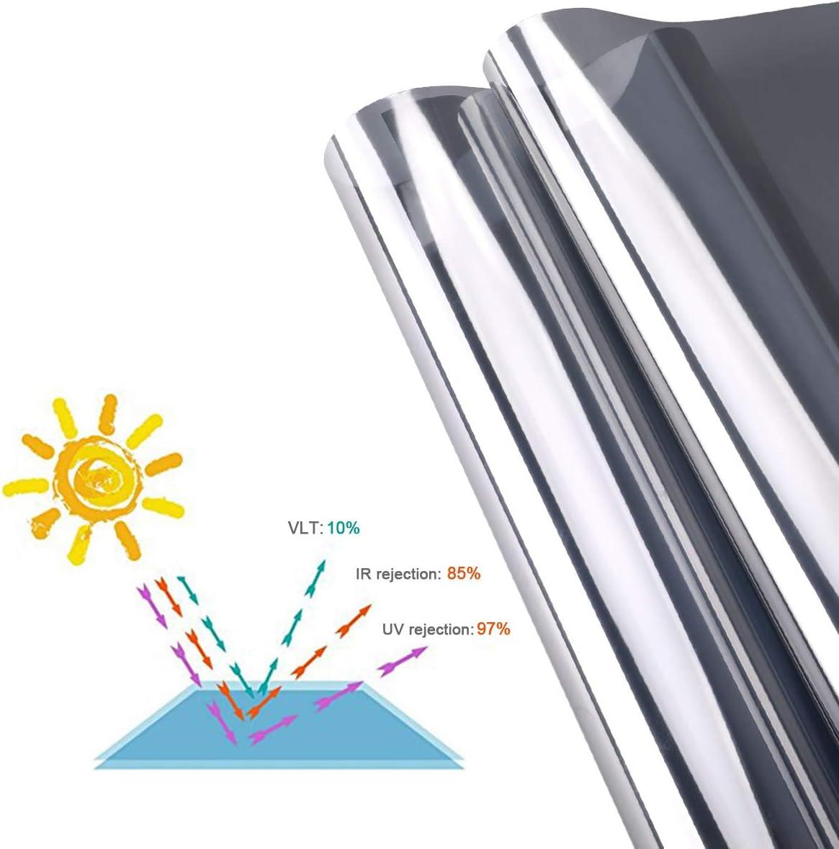 iKINLO Film Adh/ésif r/éfl/échissant One Way 45 200CM Ultra Transparent Argent Anti UV Contr/ôle de la Chaleur Sun Blocker Protection Dintimit/é pour Les Fen/êtres et Les Bureaux etc.