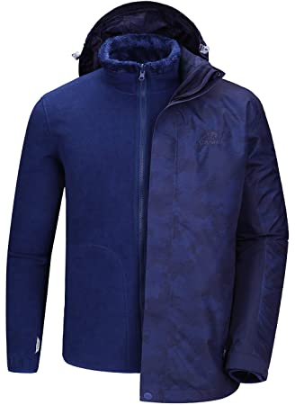 CAMEL CROWN Chaqueta de Esquí Impermeable para Hombre 3 en 1 con Capucha Extraíble Inner Chaqueta Forro Polar para Montaña Cámping Viajes
