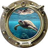 12'' Porthole Sea Window Instant View TURTLE #1 ANTIQUE BRONZE Wall Decal Kids Sticker Room Home Art Décor SMALL