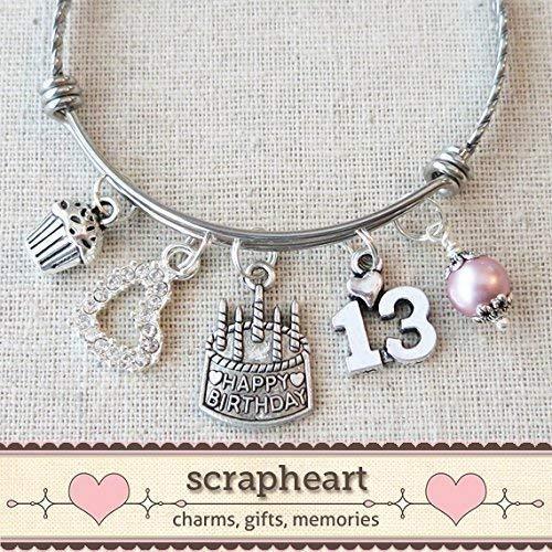 13th BIRTHDAY GIRL Bracelet, Happy 13th Birthday Charm Bracelet, Teenage Daughter Gift Ideas, Birthday Gifts for Girls, 13 Year Old Girl Birthday