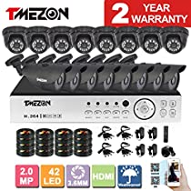 [Better Than 1080N]TMEZON 16CH 1080P AHD Security DVR Video System 8 Bullet and 8 Dome 2.0MP 2000TVL Night Vision Outdoor AHD Security Camera P2P QR Code Scan Easy Setup