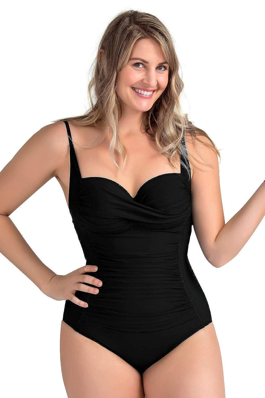cc90916e9bdb0 PERONA Retro Swimsuit Women s Ruched Vintage Swimwear Tummy Control Swimsuit  Push Up One Piece Bathing Suit at Amazon Women s Clothing store