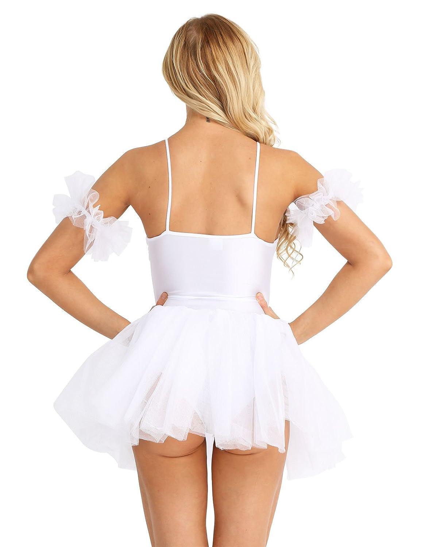 Freebily Body Danza Classica Donna con Gonnellino in Cotone Pattinaggio Artistico Vestito da Balletto Ballerina Costume Carnevale con Polsino Tutu Danza Lago dei Cigni