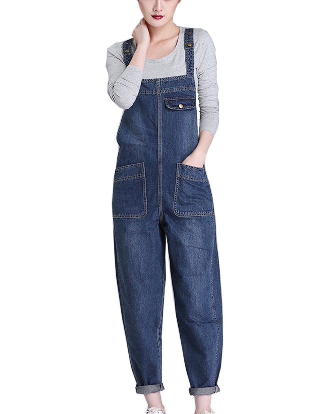 Flygo Women's Casual Denim Cropped Harem Overalls Pant Jeans Jumpsuits with Pockets