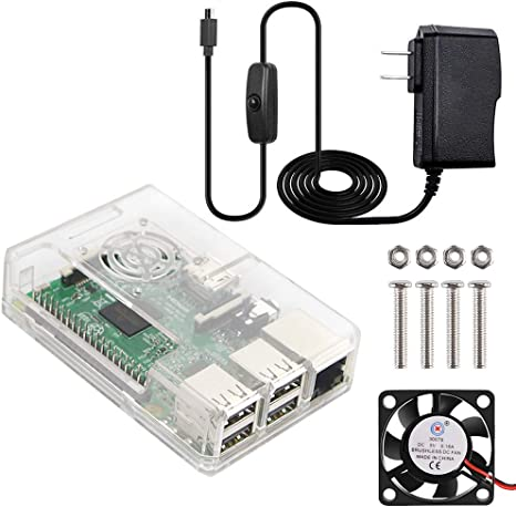 ABS Case+Cooling Fan+3 Heatsink 5V//3A Power Supply For Raspberry Pi 3 B 3B 2B