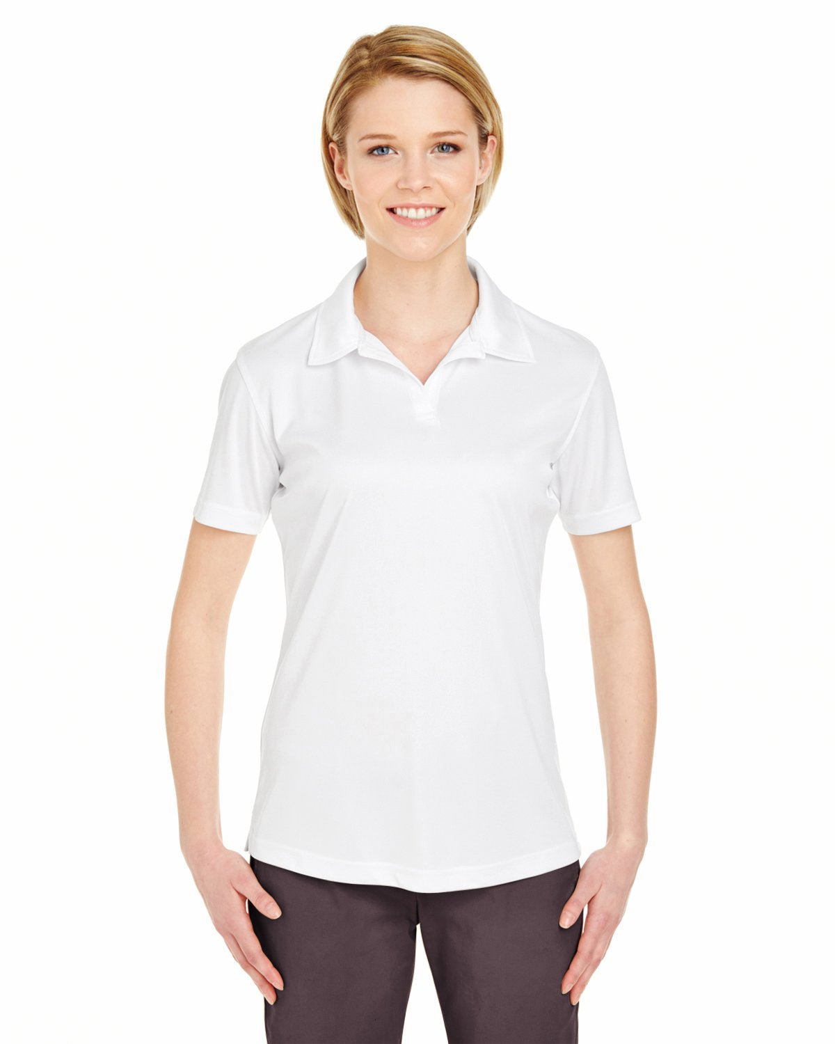 UltraClub Women's Cool & Dry Sport Interlock Polo Shirt Pack of 10, White, Small by UltraClub
