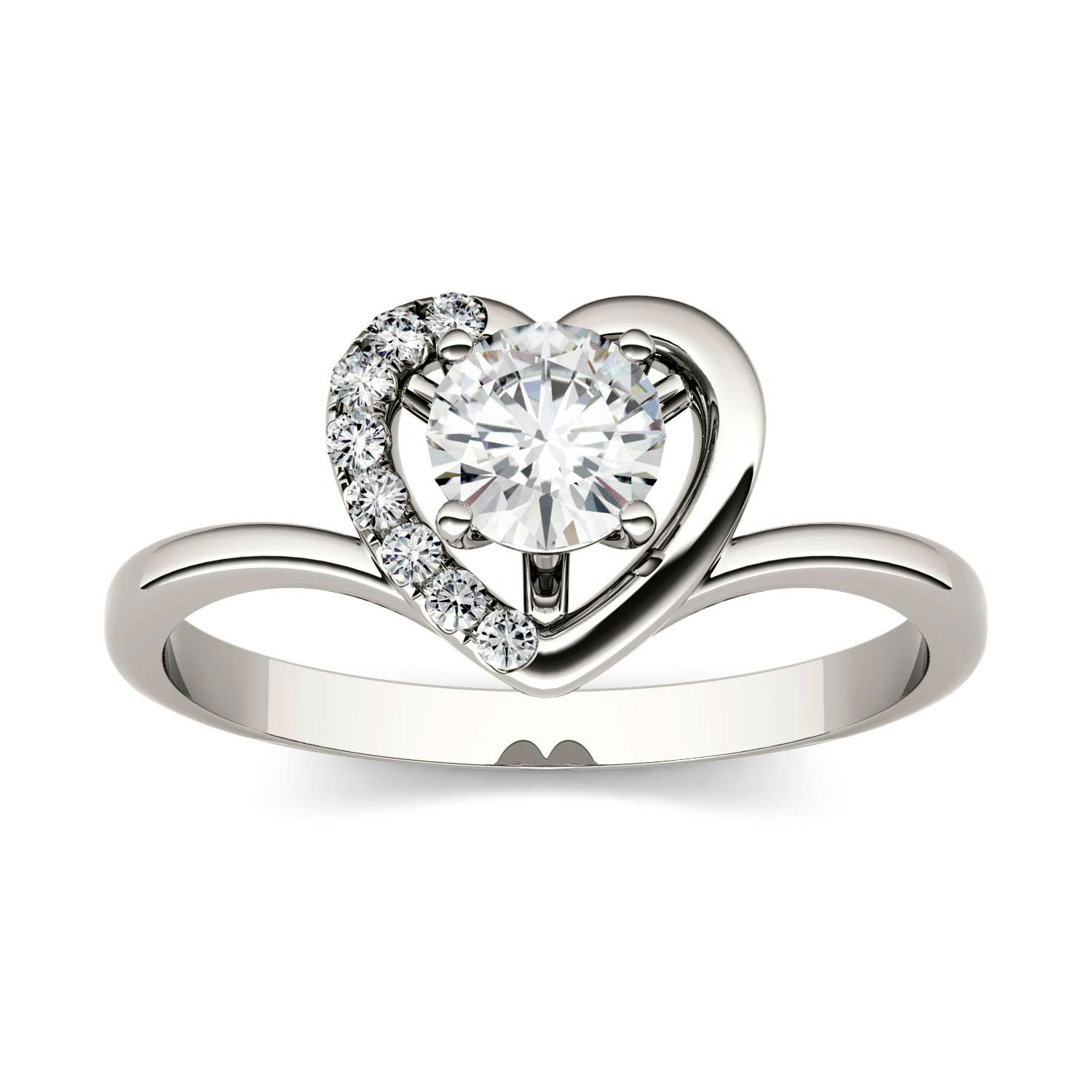 Forever Brilliant Round 5.0mm Moissanite Heart Ring-size 7, 0.58cttw DEW By Charles & Colvard