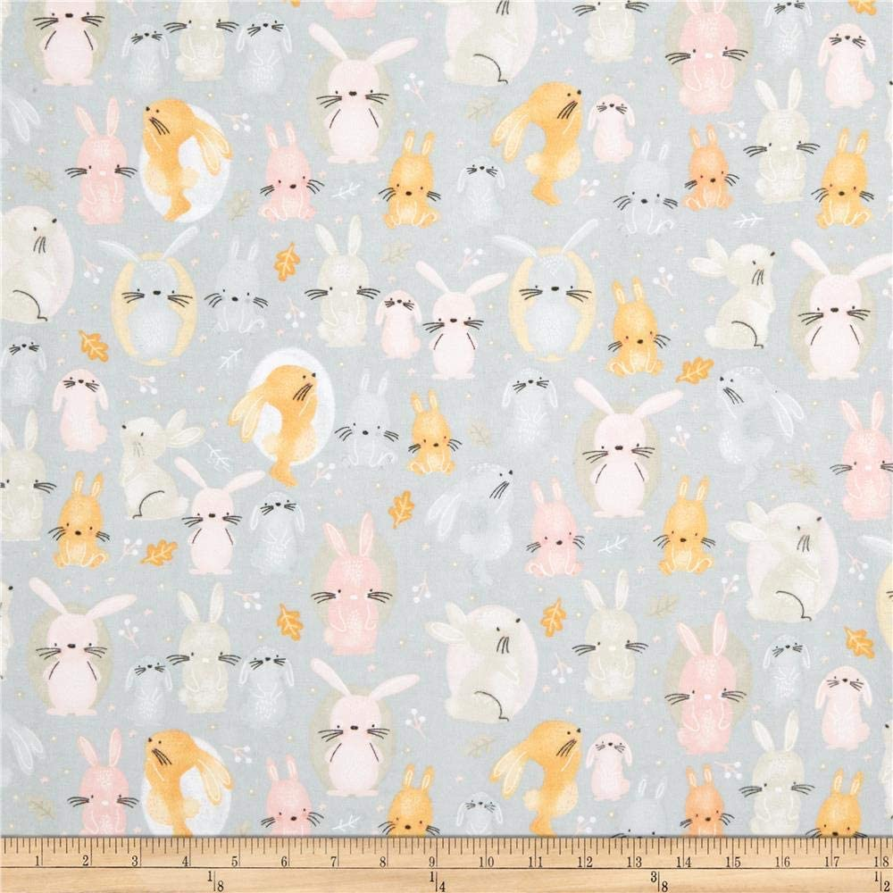 A.E. Nathan Comfy Flannel Print Bunnies Grey Fabric Fabric by the Yard