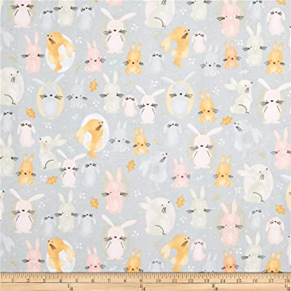 Hello Little Bunny Grey Cotton Fabric Dressmaking Quilting Craft Main