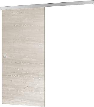 inova Holz-Schiebet/ür 880 x 2035 mm wei/ß Alu Komplettset mit Lauf-Schiene und Quadratgriff inkl Softclose