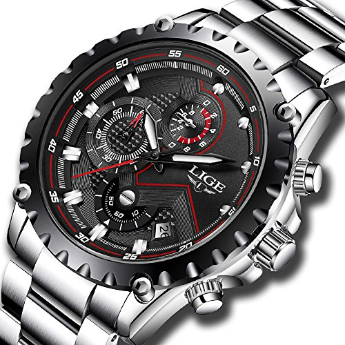 Mens Watches,LIGE Stainless Steel Chronograph Sports Analog Quartz Watch Gents Waterproof Black Dial Date Display Business Casual Luxury Dress Wrist Watch Silver Black (Quartz Watch Sport Steel)