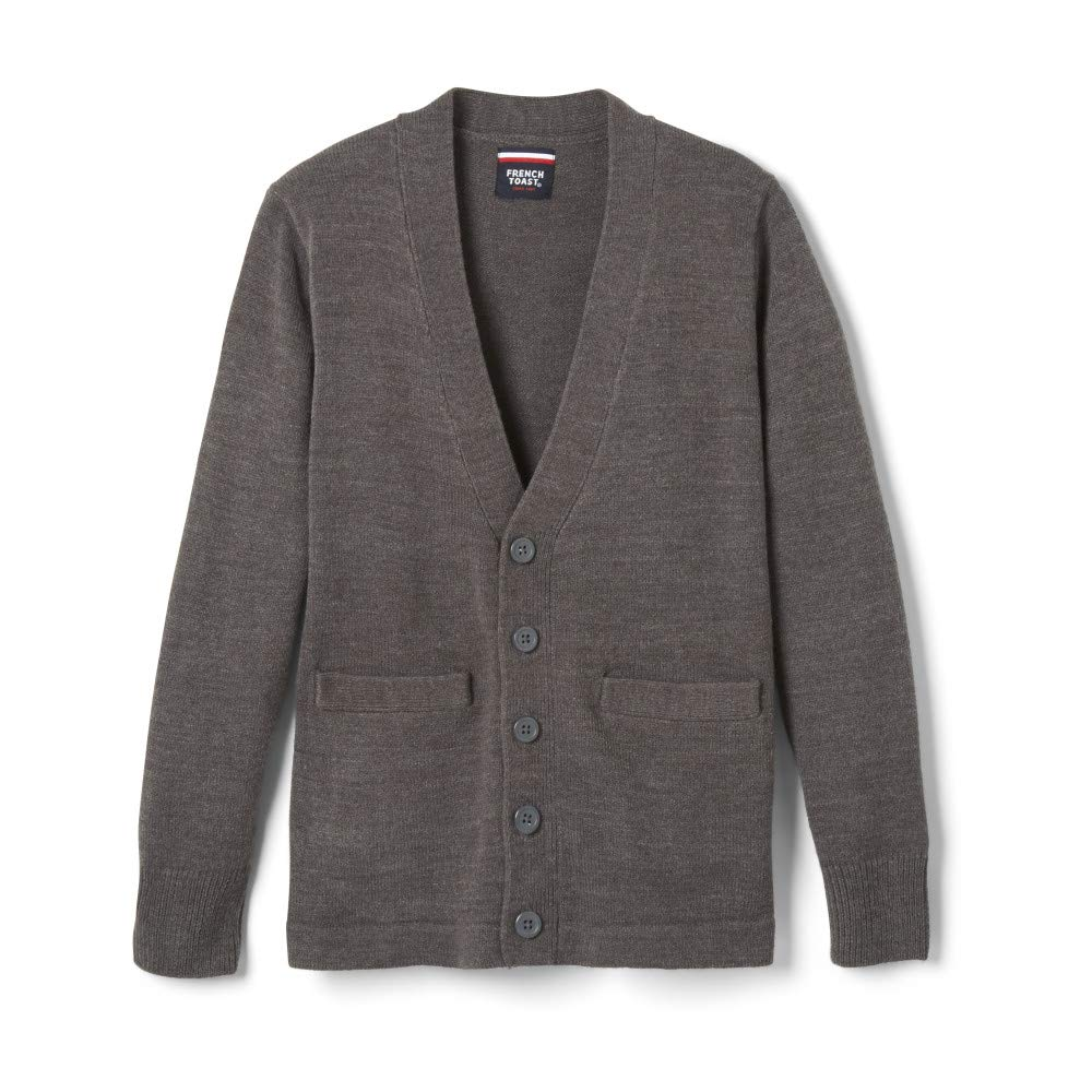 French Toast Boys' Little Anti-Pill V-Neck Cardigan Sweater, Charcoal Heather Gray, S (6/7)