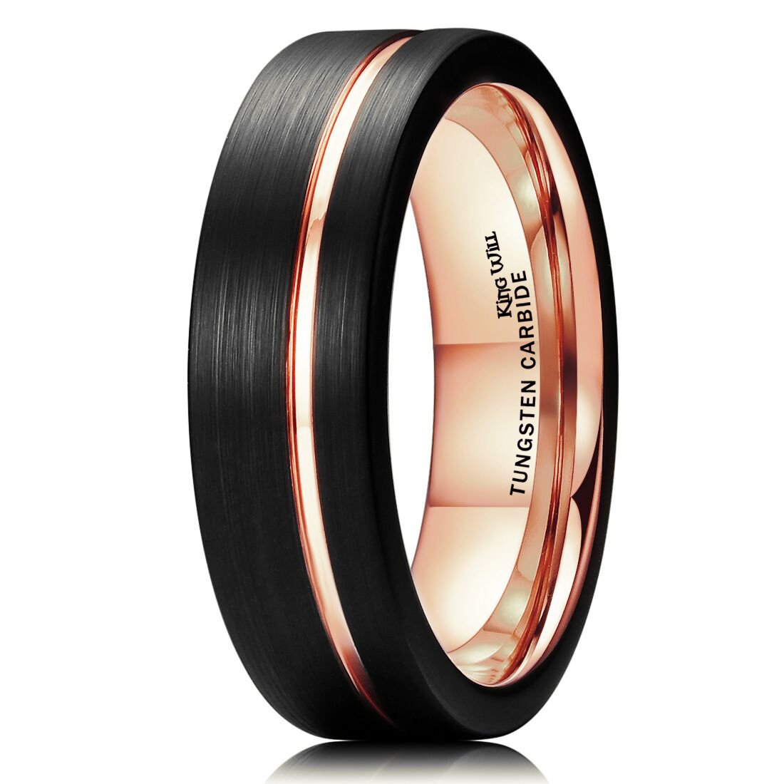 King Will DUO 7mm Tungsten Carbide Ring Rose Gold Line Wedding Band Black Brushed Comfort Fit(9)
