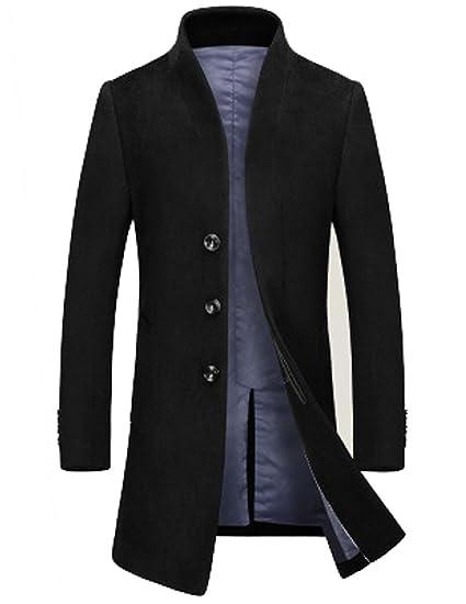 04d611cf1b04 ROSEUNION Men's Casual Slim Fit Woolen Trench Coat Winter Long Jacket  Single Breasted Overcoat (UK