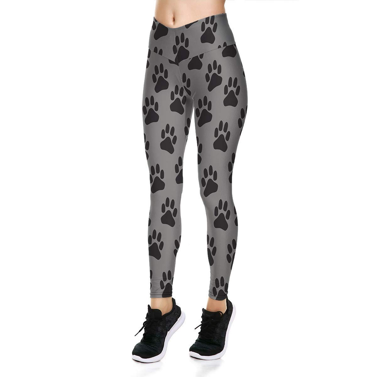 Fanii Quare Women's High Waist Dri-Fit Running Tights Printed Training Compression Workout Pants Dog Paw S