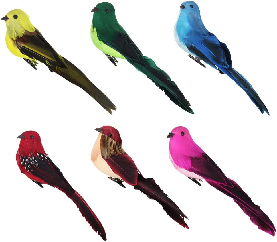 B Blesiya 7pcs Oiseaux de Mousse de Plume Artificielle avec Pince D/écor darbre de Jardin