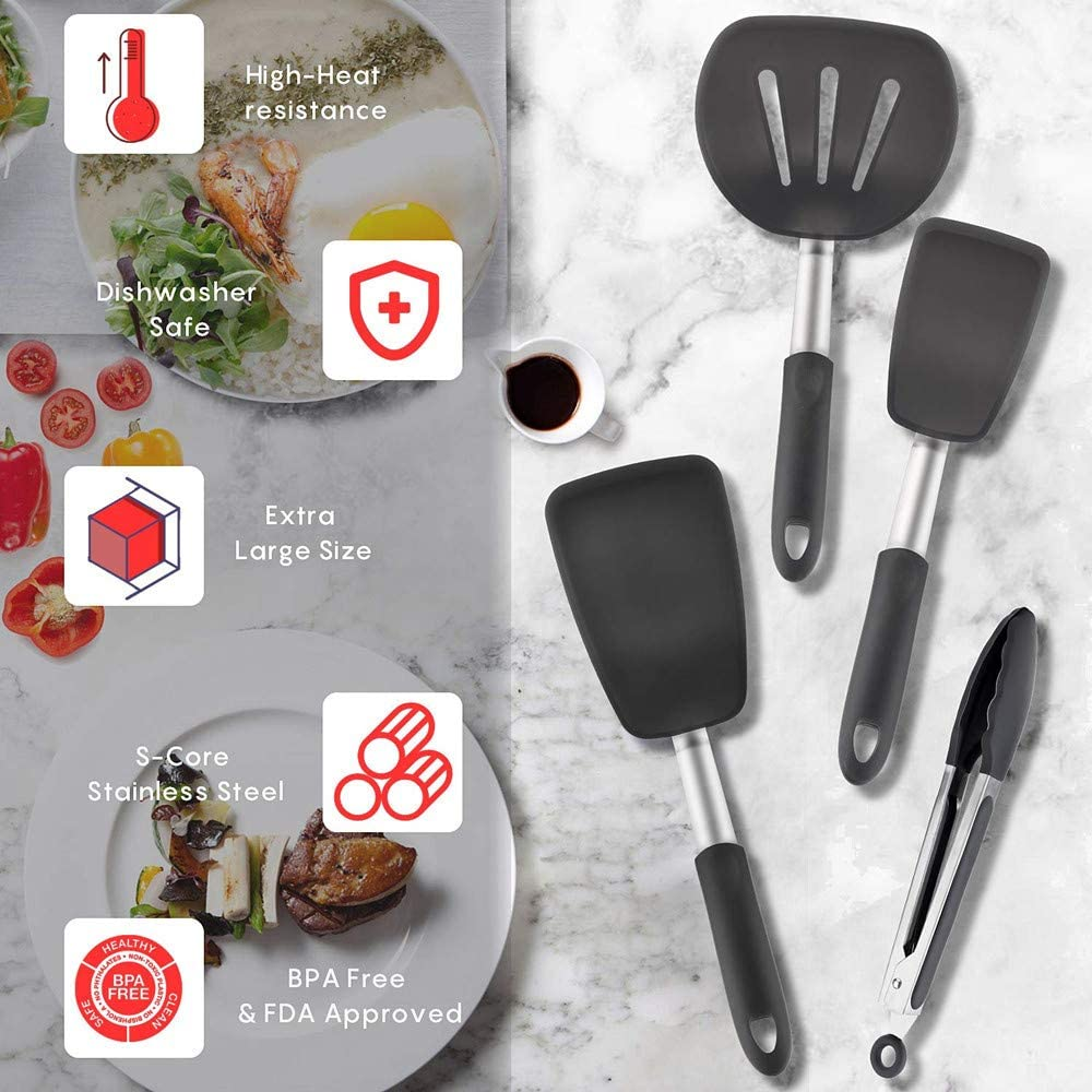 Flexible Silicone /& Stainless Steel Fish Omelette Non-Stick and 600/ºF Heat Resistant,BPA Free,for Roasting Steaks Eggs 4 Pack Turner Silicone Spatula Set