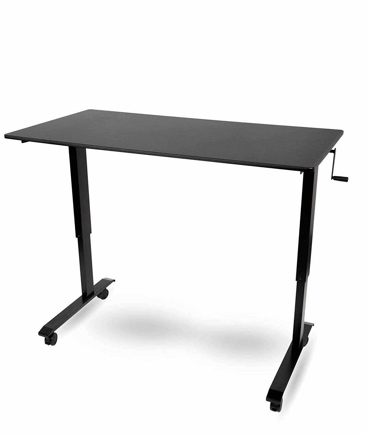 56 Inches Wide, Charcoal Frame//Natural Walnut Top Crank Adjustable Height Standing Desk