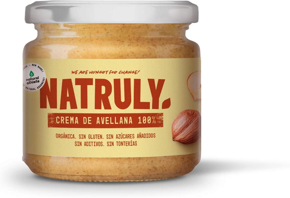 NATRULY Crema de Avellanas BIO, 100% Avellanas Sin Azúcar, Sin Gluten, Sin Aceite de Palma - 300 g