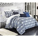 Chic Home 6 Piece Fiorella New Luxury Jacquard Collection Comforter Set, King, Blue