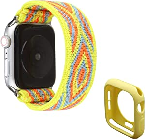 Elastic Watch Bands Strap Stretchy Loop Nylon Wristband Bracelet Replacement Compatible with 44mm Apple Watch SE/Series 6/5/4, Yellow Bohemia