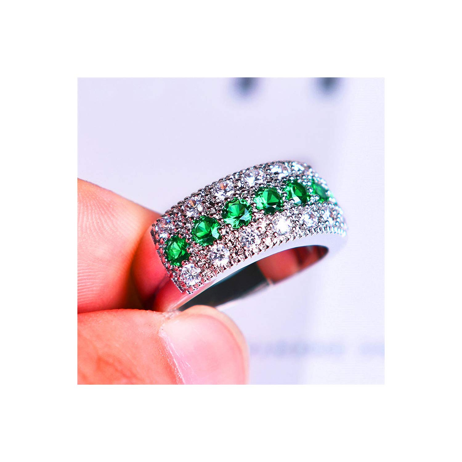 bling-bling-store Crystal Round Zircon Ring Fashion Wedding Jewelry 925 Silver Engagement Rings