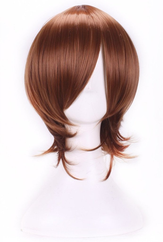 AneShe Mens Short Layered Hair Anime Cosplay Wig Party Wig (Light Brown)
