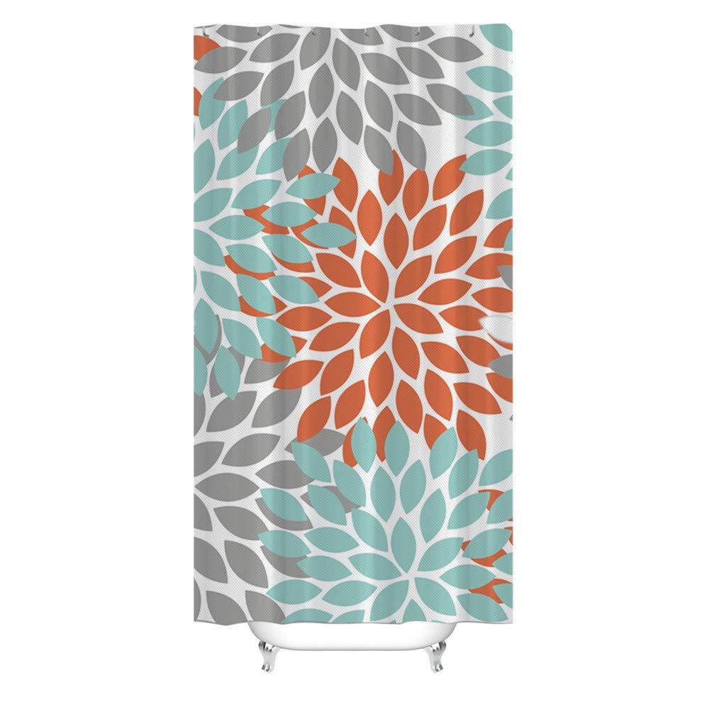 Bathroom Shower Curtain Liner Simple Flower Pattern Printing Mildew Resistant Waterproof 36x72 Inch Fabric Shower Curtain (Multicolor)