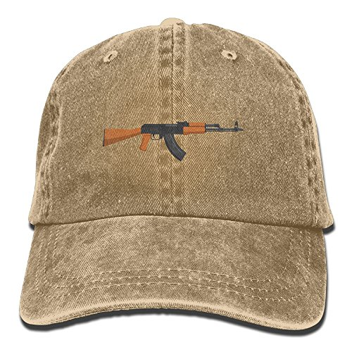 MNNS Vintage Denim Cap Hat Kalashnikov AK-47 Six-Panel Adjustable Sports Trucker Baseball Hat For Adults Unisex (Best Drum Magazine For Ar15)
