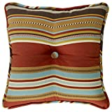 HiEnd Accents Calhoun Western Striped Tufted Pillow, 18 by 18''