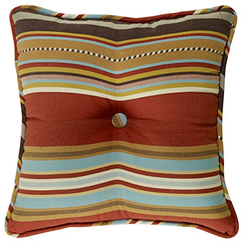 """HiEnd Accents Calhoun Western Striped Tufted Pillow, 18 by 18\"""""""