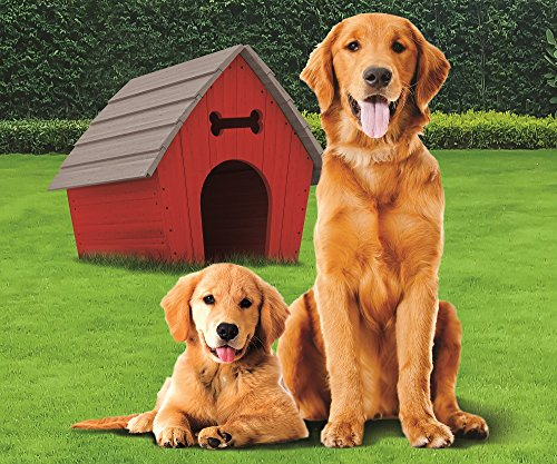Golden Retriever with Dog House Fleece Throw Blanket 50