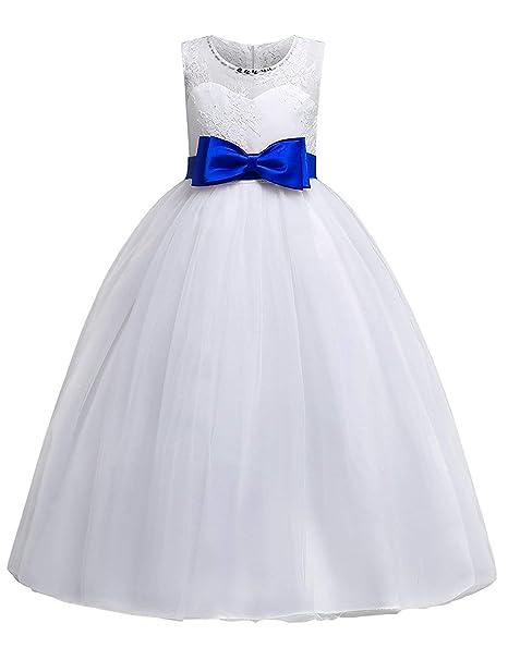 OBEEII Prinzessin Kleid Kinder Mädchen Festlich Elegante Ärmellose  Blumenspitze Maxi Kleider für Hochzeit Brautjungfer Geburtstag Party  Jugendweihe Cocktail ... f1ab4de904