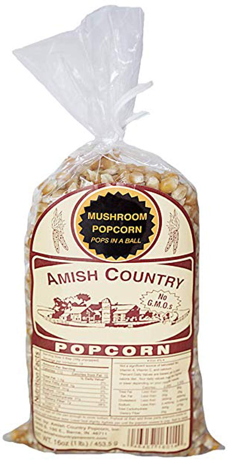 Amish Country Popcorn - Mushroom Popcorn (1 Pound Bag) Old Fashioned, Non GMO, and Gluten Free - with Recipe Guide