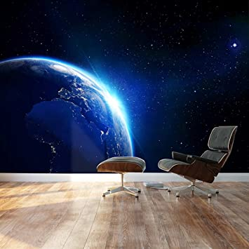 Awesome Wall26   Large Wall Mural   Shining Blue Earth In Universe Viewed From Outer  Space | Amazing Pictures