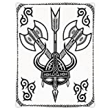 iPrint Super Soft Throw Blanket Custom Design Cozy Fleece Blanket,Viking,Helmet with Horn Arrow Axe Antique War Celtic Style Medieval Battle Art Prints,Black White,Perfect for Couch Sofa or Bed