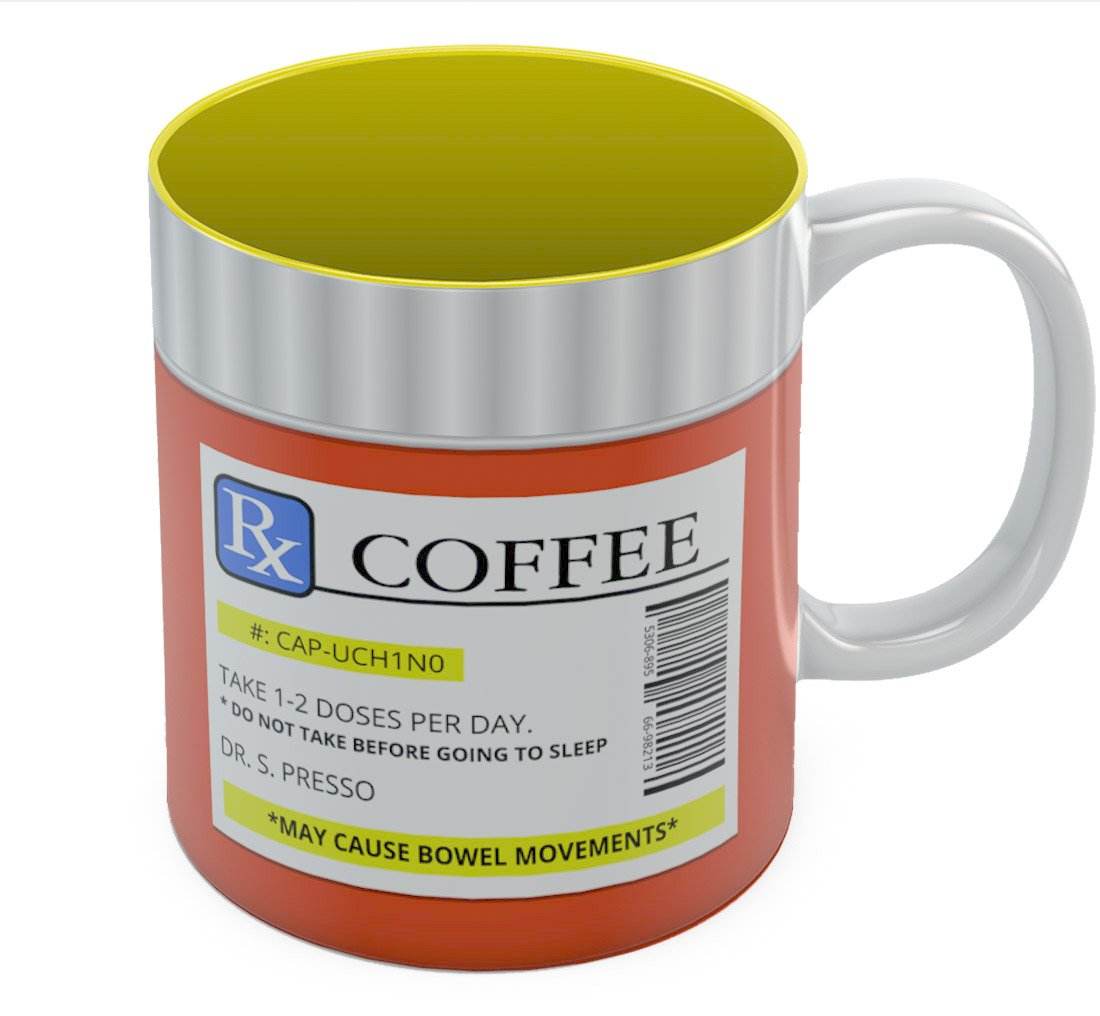 The Prescription Coffee Mug Funny Printed Tea Cup, for Him or Her for the Office or Home, Cool Coffee Addicts Gift idea Ceramic Mug 11 Oz. Blue G0PMMaZgWWwP0Ww9ll6F