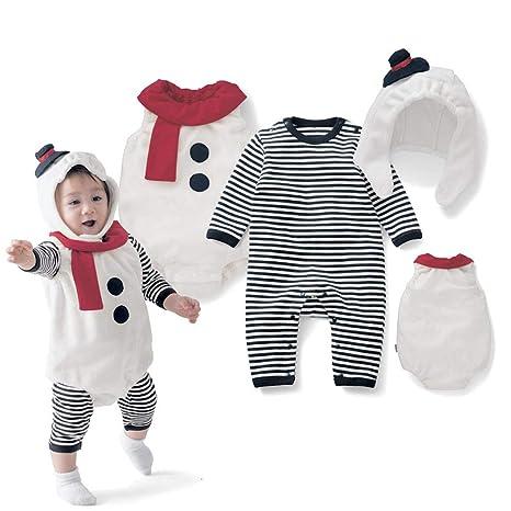 Bebé Navidad Pelele Mameluco + Chaleco + Gorra Disfraz de Muñeco de Nieve 3 Piezas Conjunto
