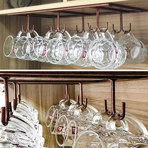 WTT Warm Van Retro Creative Under Cabinet 12 Hook Shelf,Mugs Coffee Cups Wine Glasses Storage Drying Rack,Cabinet Hanging Shelves,Organizer Ties Belts,Upside Down Wine Glass Holder(Bronze) by WTT