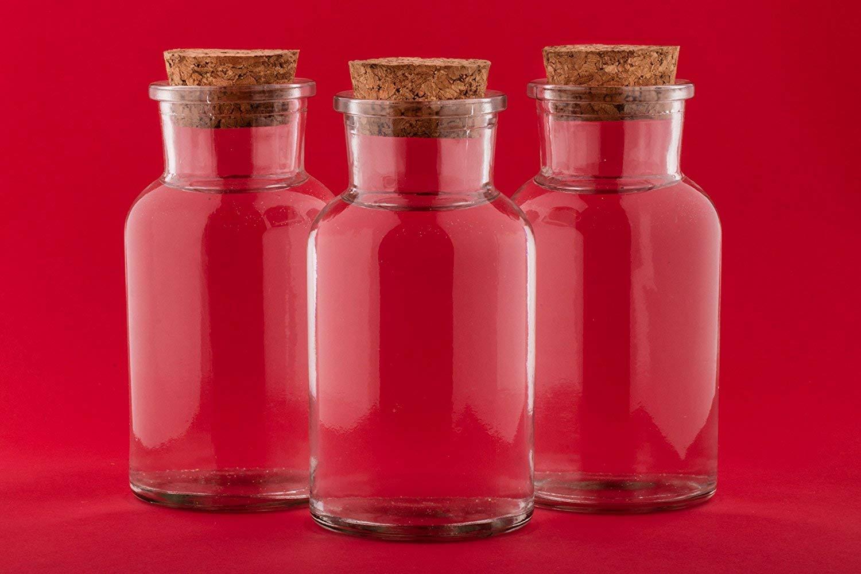 10 piezas de 250 ml Botellas de deseo de vidrio transparente recipientes de vidrio frasco de vidrio con tapabocas Viales con tapas de corcho Contenedores de ...