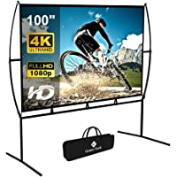 Projector Screen with Stand Foldable Portable Movie Screen 100 Inch(16:9), HD 4K Double Sided Projection Screen Indoor…